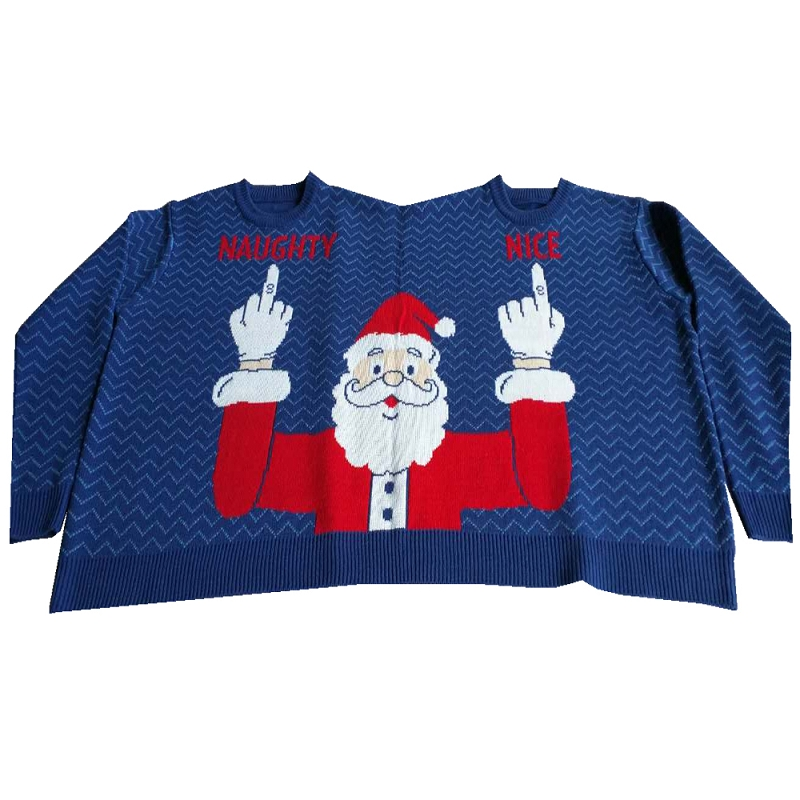 Two Person Sweater, Naughty & Nice Santa | FunQiGifts.com