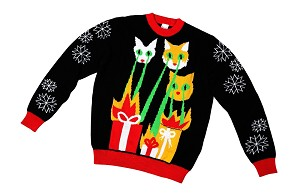 Kids, Ugly Christmas Sweater: Laser Cat-Zillas