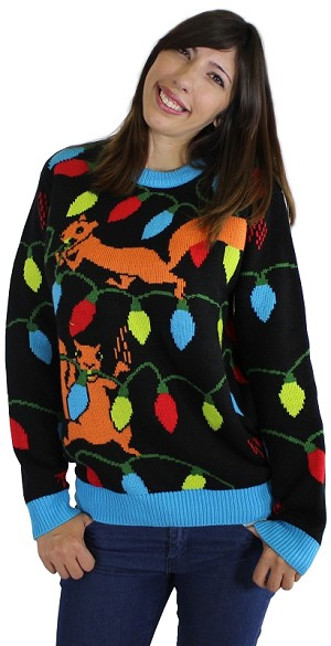 Ugly Christmas Sweater: Squirrelly Christmas Lights