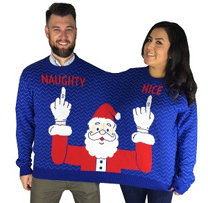 Two Person, Ugly Christmas Sweater: Naughty & Nice Santa